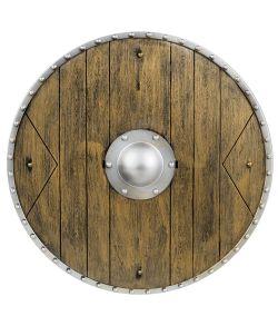 Skjold i trælook med metal detaljer, måler 40 cm i diameter