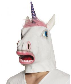 Enhjørning maske med lyserødt hår og lilla horn