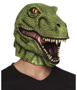 Grøn T-rex maske i latex
