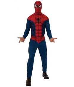 Billigt Spiderman kostume med jumpsuit og hætte til voksne.
