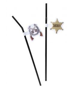 Pakke med 2 slags sheriff sugerør, 6 stk. assorteret