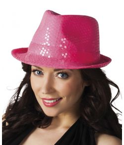 Fed neonpink popstar hat med gennemsigtige pailletter
