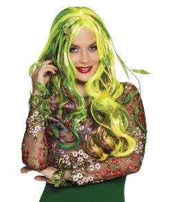 Flot langhåret paryk i grønlige nuancer med blade