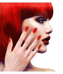 Røde selvklæbende kunstige negle til udklædning.