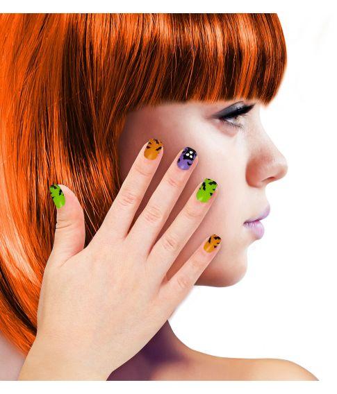 Selvklæbende kunstige negle med halloween motiv til børn.
