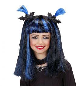Blå og sort halloween paryk til piger.