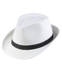 Hvid gangster hat til kostume.