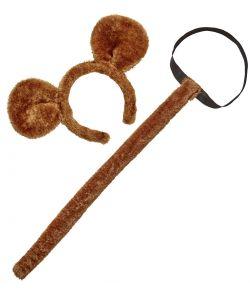 Brun plyds hale og hårbøjle med ører til abe udklædningen.