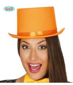 Orange høj hat med satin bånd til udklædning.