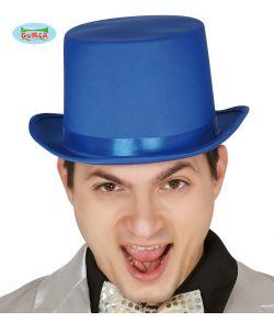 Blå høj hat med satin bånd til kostume.