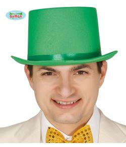 Grøn høj hat med satin bånd til udklædning.