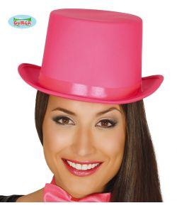 Pink høj hat med satin bånd.