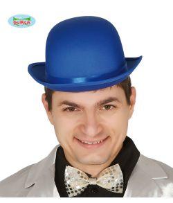 Blå bowlerhat med satin bånd.