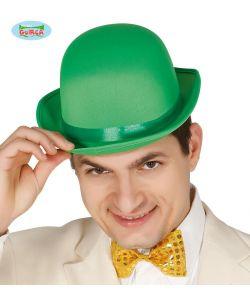 Grøn bowlerhat med satin bånd.