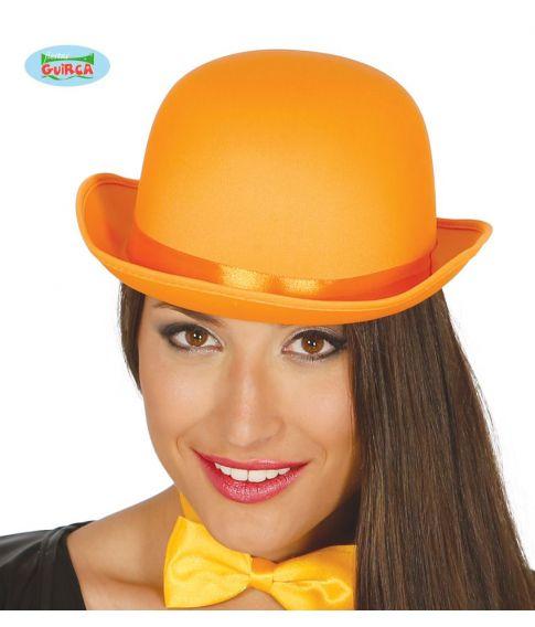 Orange bowlerhat med satin bånd.