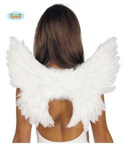 Hvide fjervinger med elastikker til engle udklædningen.