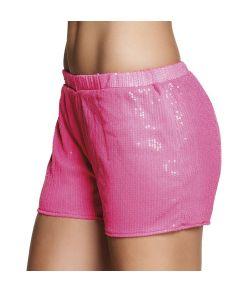 Flotte neon pink hotpants med pailletter