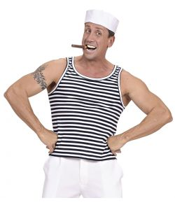 Hvid og blå stribet undertrøje til matros udklædningen.