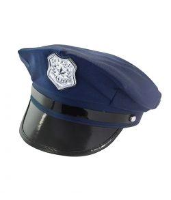 Mørkeblå politikasket med emblem til politi udklædningen.