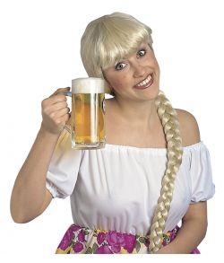 Blond paryk med fletning.