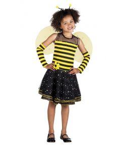 Sødt bi kostume med kjole, vinger, hårbøjle med horn og armvarmere