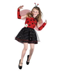 Sødt mariehøne kostume med kjole, vinger, hårbøjle og armvarmere