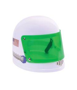 Hvid astronaut hjelm med grønt visir.
