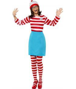 Find Helga kostume med bluse, nederdel, briller, hue og strømpebukser.