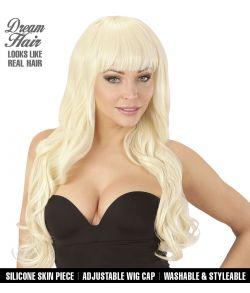 Flot lang blond paryk med page