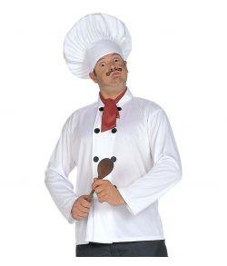 Kokke udklædningssæt med hat, jakke og halsklæde.