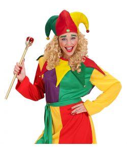 Sjov og festlig narhat og krave i rød, gul og grøn- med bjælder