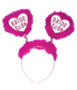 Flot hvid hårbøjle med pink plys