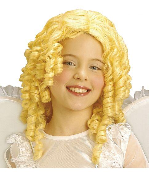 Flot blond engleparyk med slangekrøller til børn