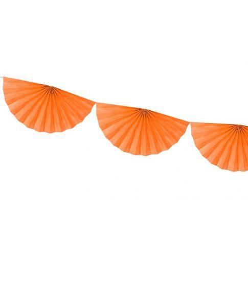 Orange vifte guirlande i papir med 9 vifter.