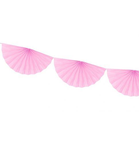 Pink vifte guirlande i papir med 9 vifter.
