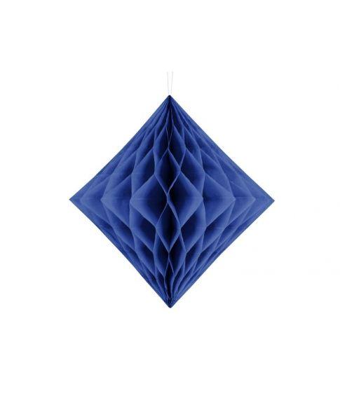 Navy blå diamantformet dekoration i papirvæv til ophæng.