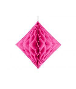 Hot pink diamantformet dekoration i papirvæv til ophæng.