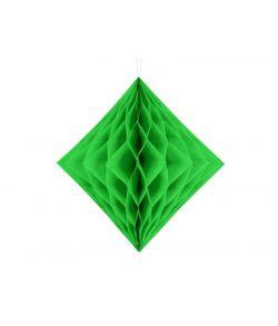 Grøn diamantformet dekoration i papirvæv til ophæng.
