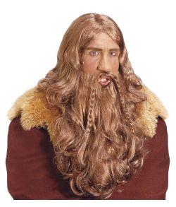 Flot langhåret paryk med skæg med fletninger til vikinge udklædningen.