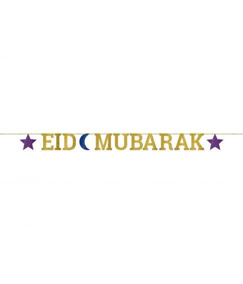 Eid Mubarak bogstavs guirlande med glimmer.