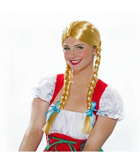 Blond skinnende paryk med fletninger og sløjfer til Heidi udklædningen.