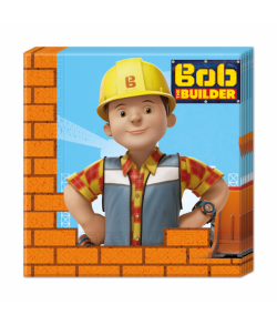 Flotte 2-lags servietter med Byggemand Bob til børnefødselsdagen.