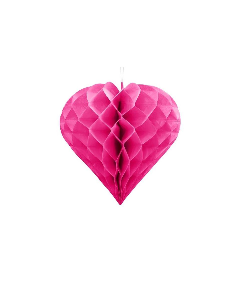 Hot pink hjerteformet dekoration i papirvæv til ophæng.