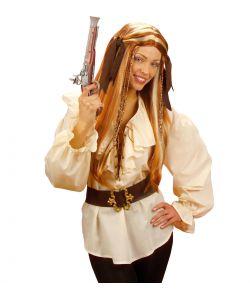 Beige skjorte med flæser og snører til pirat udklædningen.