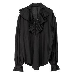 Sort skjorte med flæser og snører til pirat udklædningen.