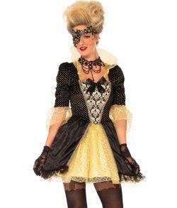 Flot renæssance kostume med kjole og halvmaske