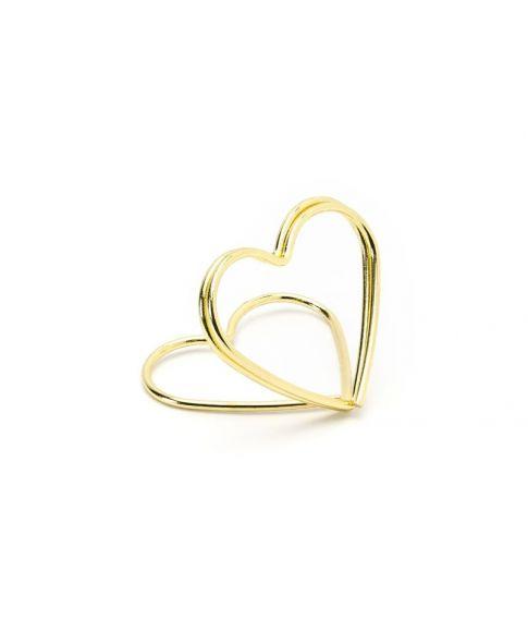 Guld hjerte bordkortholder til bryllup og konfirmation.