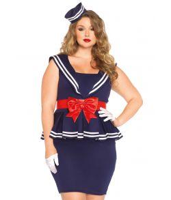 Flot sømandskjole med stort sløjfebånd og matchende hat