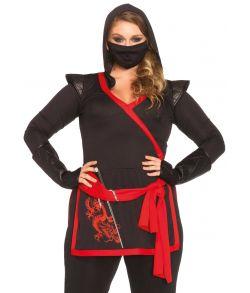Ninjakostume med topdel, bukser, handsker og maske