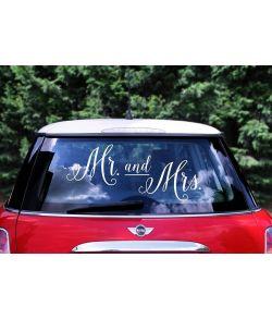 Mr & Mrs klistermærker til brudeparrets bil.